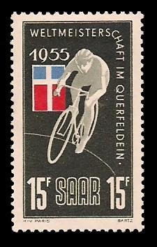 15 Fr Briefmarke: Weltmeisterschaft im Querfeldein
