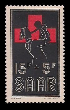 15+ 5 Fr Briefmarke: Rotes Kreuz 1955