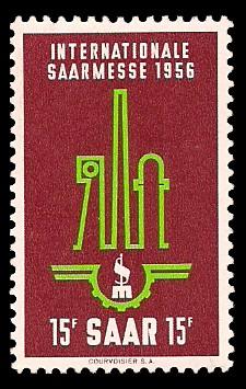 15 Fr Briefmarke: Internationale Saarmesse 1956