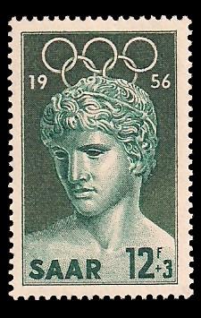 12+ 3 Fr Briefmarke: Olympische Sommerspiele 1956