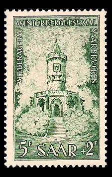 5+ 2 Fr Briefmarke: Wiederaufbau Winterbergdenkmal