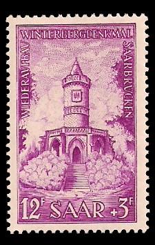 12+ 3 Fr Briefmarke: Wiederaufbau Winterbergdenkmal