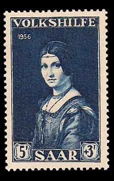 5+ 3 Fr Briefmarke: Volkshilfe 1956, Gemälde