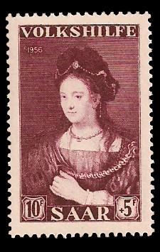 10+ 5 Fr Briefmarke: Volkshilfe 1956, Gemälde