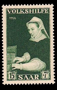 15+ 7 Fr Briefmarke: Volkshilfe 1956, Gemälde