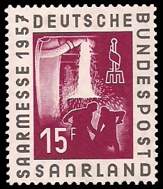 15 Fr Briefmarke: Internationale Saarmesse 1957