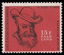 15 Fr Briefmarke: 50. Todestag Wilhelm Busch