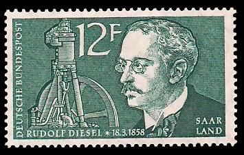 12 Fr Briefmarke: 100. Geburtstag Rudolf Diesel