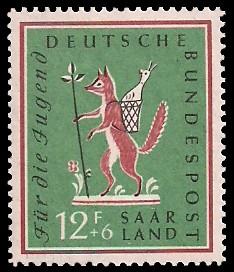 12+ 6 Fr Briefmarke: Für die Jugend, Volkslieder