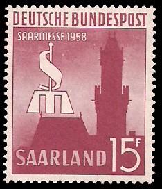 15 Fr Briefmarke: Saarmesse 1958