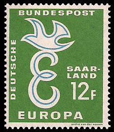 12 Fr Briefmarke: Europamarke 1958