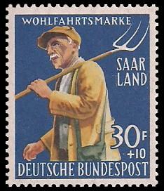 30+ 10 Fr Briefmarke: Wohlfahrtsmarke, Landwirtschaft