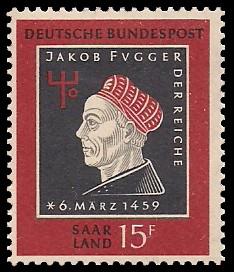 15 Fr Briefmarke: 500. Geburtstag Jakob Fugger