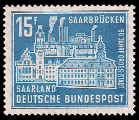 15 Fr Briefmarke: 50 Jahre Großstadt Saarbrücken