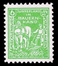 6 + 14 Pf Briefmarke: Junkerland in Bauernhand (Bodenreform), Bauer mit Pflug