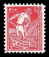 12 + 28 Pf Briefmarke: Junkerland in Bauernhand (Bodenreform), Schnitter