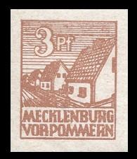 3 Pf Briefmarke: Freimarken Abschiedsausgabe, Bauernhäuser