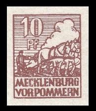 10 Pf Briefmarke: Freimarken Abschiedsausgabe, Bauer mit Pferde-Pflug