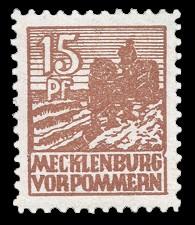 15 Pf Briefmarke: Freimarken Abschiedsausgabe, Bauer mit Motorpflug