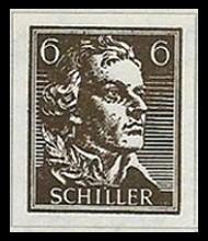 6 Pf Briefmarke: Wiederaufbau deutsches Nationaltheater Weimar, Schiller