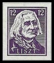 12 Pf Briefmarke: Wiederaufbau deutsches Nationaltheater Weimar, Liszt