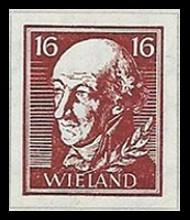 16 Pf Briefmarke: Wiederaufbau deutsches Nationaltheater Weimar, Wieland