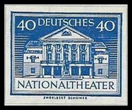 40 Pf Briefmarke: Wiederaufbau deutsches Nationaltheater Weimar
