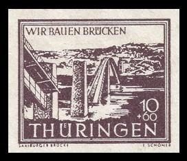 10 + 60 Pf Briefmarke: Wir bauen Brücken, Saalburger Brücke