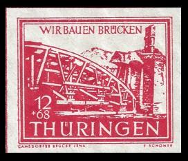 12 + 68 Pf Briefmarke: Wir bauen Brücken, Camsdorfer Brücke
