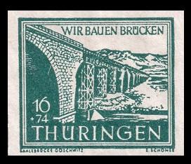 16 + 74 Pf Briefmarke: Wir bauen Brücken, Saalebrücke Göschwitz