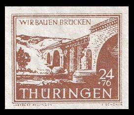 24 + 76 Pf Briefmarke: Wir bauen Brücken, Ilmbrücke Mellingen