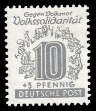 10 + 5 Pf Briefmarke: Volkssolidarität