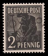 2 Pf Briefmarke: Freimarken II. Kontrollratsausgabe, Pflanzer - mit Aufdruck Bezirksstempel