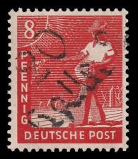 8 Pf Briefmarke: Freimarken II. Kontrollratsausgabe, Sämann - mit Aufdruck Bezirksstempel