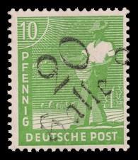 10 Pf Briefmarke: Freimarken II. Kontrollratsausgabe, Sämann - mit Aufdruck Bezirksstempel