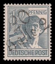 12 Pf Briefmarke: Freimarken II. Kontrollratsausgabe, Arbeiter - mit Aufdruck Bezirksstempel