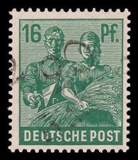 16 Pf Briefmarke: Freimarken II. Kontrollratsausgabe, Maurer und Bäuerin - mit Aufdruck Bezirksstempel