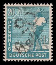 20 Pf Briefmarke: Freimarken II. Kontrollratsausgabe, Sämann - mit Aufdruck Bezirksstempel