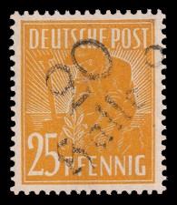 25 Pf Briefmarke: Freimarken II. Kontrollratsausgabe, Pflanzer - mit Aufdruck Bezirksstempel