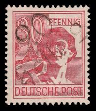 30 Pf Briefmarke: Freimarken II. Kontrollratsausgabe, Arbeiter - mit Aufdruck Bezirksstempel