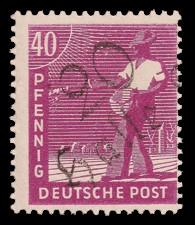 40 Pf Briefmarke: Freimarken II. Kontrollratsausgabe, Sämann - mit Aufdruck Bezirksstempel