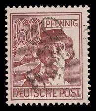 60 Pf Briefmarke: Freimarken II. Kontrollratsausgabe, Arbeiter - mit Aufdruck Bezirksstempel