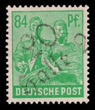 84 Pf Briefmarke: Freimarken II. Kontrollratsausgabe, Maurer und Bäuerin - mit Aufdruck Bezirksstempel