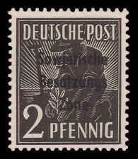 2 Pf Briefmarke: Freimarken II. Kontrollratsausgabe, Pflanzer - mit Maschinenaufdruck 'Sowjetische Besatzungs Zone'