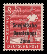 8 Pf Briefmarke: Freimarken II. Kontrollratsausgabe, Sämann - mit Maschinenaufdruck 'Sowjetische Besatzungs Zone'
