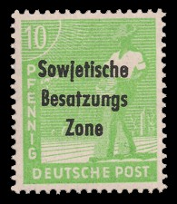 10 Pf Briefmarke: Freimarken II. Kontrollratsausgabe, Sämann - mit Maschinenaufdruck 'Sowjetische Besatzungs Zone'