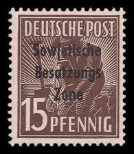15 Pf Briefmarke: Freimarken II. Kontrollratsausgabe, Pflanzer - mit Maschinenaufdruck 'Sowjetische Besatzungs Zone'