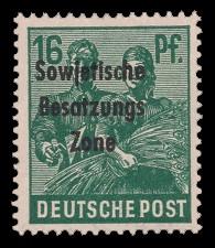 16 Pf Briefmarke: Freimarken II. Kontrollratsausgabe, Maurer und Bäuerin - mit Maschinenaufdruck 'Sowjetische Besatzungs Zone'