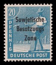 20 Pf Briefmarke: Freimarken II. Kontrollratsausgabe, Sämann - mit Maschinenaufdruck 'Sowjetische Besatzungs Zone'