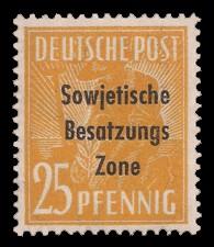 25 Pf Briefmarke: Freimarken II. Kontrollratsausgabe, Pflanzer - mit Maschinenaufdruck 'Sowjetische Besatzungs Zone'